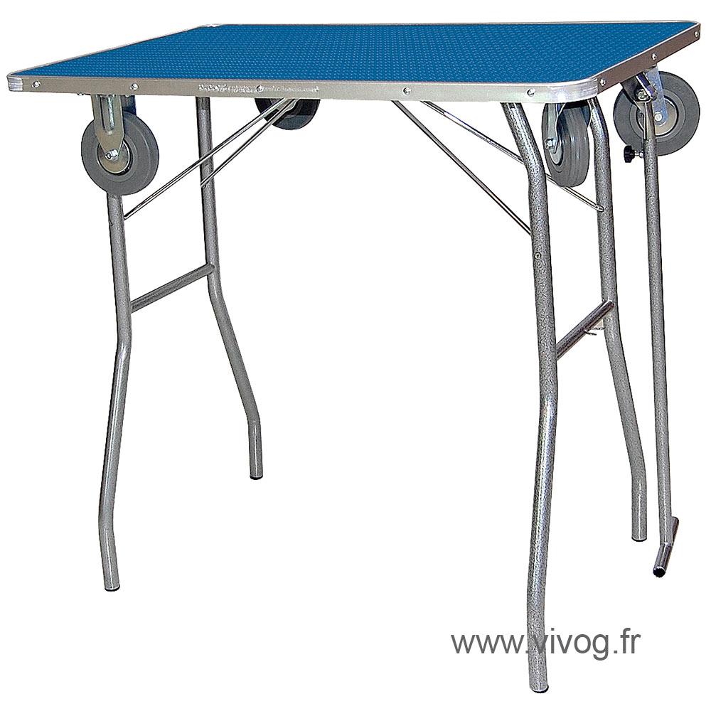 Table pliante clasique avec roulettes 90x55x85cm - Table pliante pour exposition ...