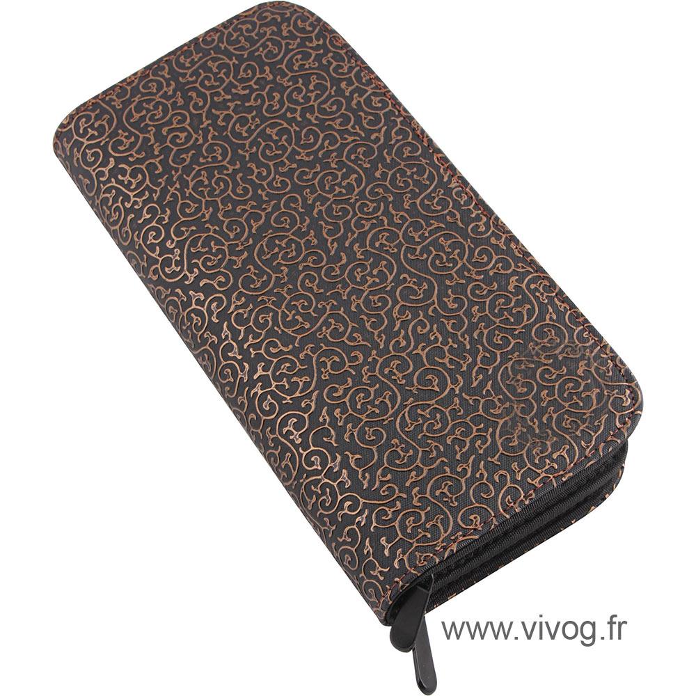 Pochette pour ciseaux et peignes - Noir avec motifs arabesques bronze