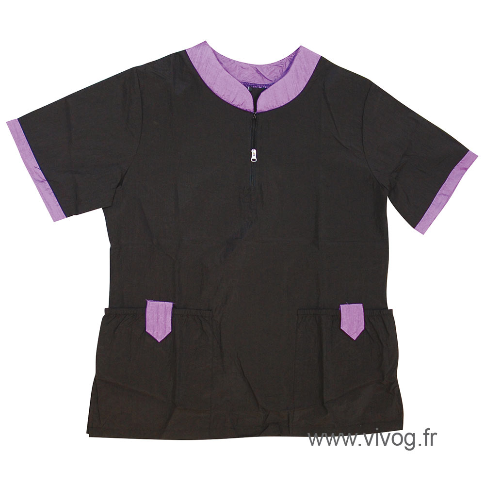 Blouse de toilettage Mixte avec poches Noir / Violet - collection SINGAPOUR
