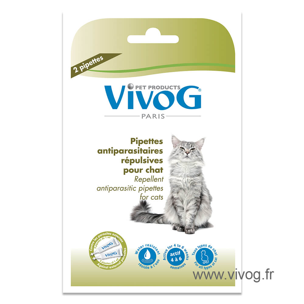 2 repellent antiparasitic pipets for cat -  with plant extracts - Vivog