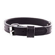More informations about: Black leather dog collar - double thick