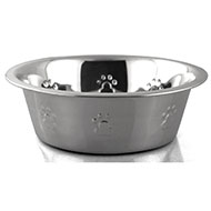 More informations about: Bowl stainless steel - embossed paw pattern