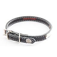 More informations about: Black leather dog collar - classic leather stitched with plate