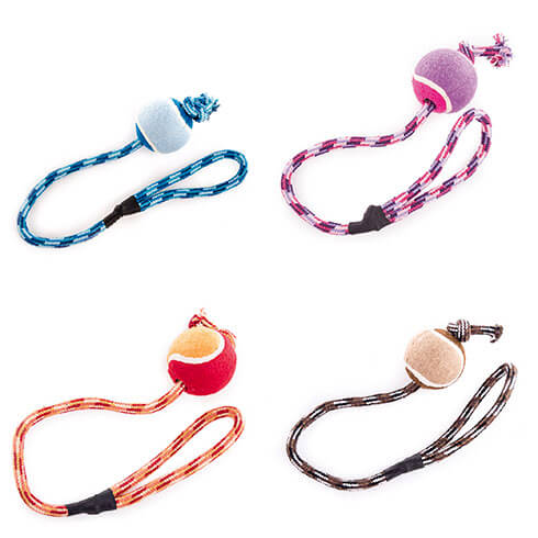 More informations about: Dog Toy - tennis balls - rope ball - Set of 4