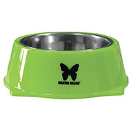 More informations about: Dog bowl - stainless steel and melamine - Green