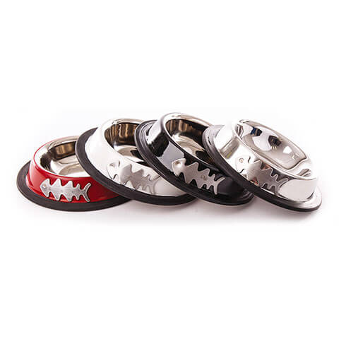 More informations about: Dog bowl - stainless steel color Fish - Set of 4
