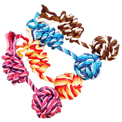 More informations about: Dog Toy - Set of 4 balls + cotton rope