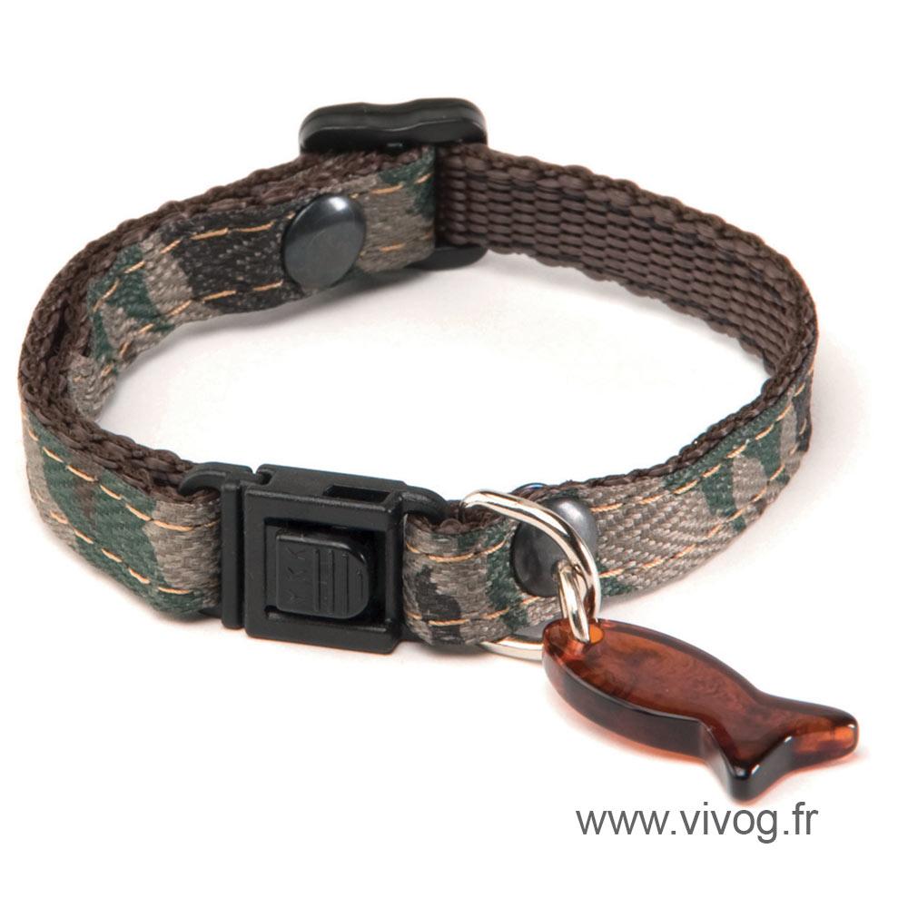 Adjustable Cat Collar - Camouflage - Green