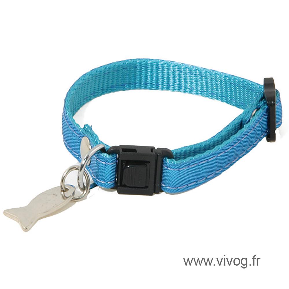 Adjustable Cat Collar - Disco - bleu