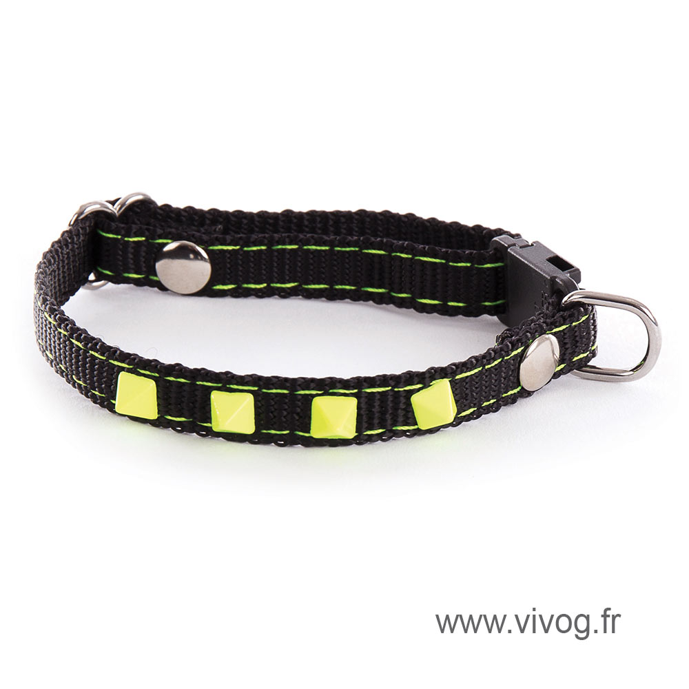 Adjustable Cat and small dog Collar - Neon Black - yellow