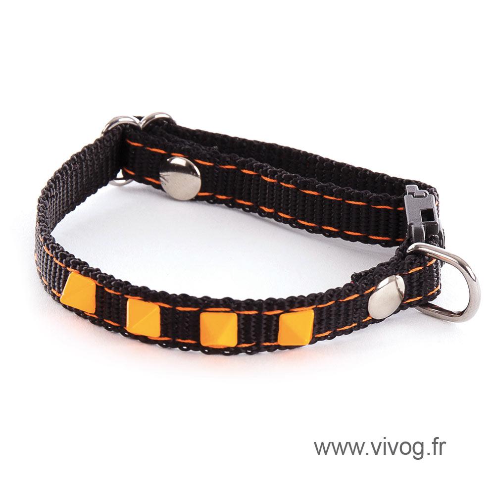 Adjustable Cat and small dog Collar - Neon Black - orange