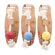 More informations about: Set of 3 balls-rope toys for dogs - 100% natural material - Rubb N Rope